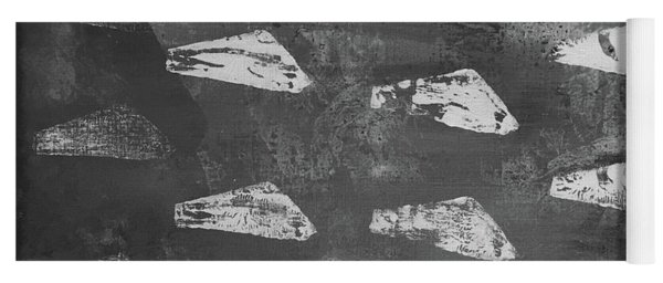 Yoga Mat featuring the painting Eoliths Grayscale by Robin Maria Pedrero
