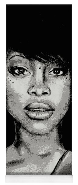 Erykah Baduism - Pencil Drawing From Photograph - Charcoal Pencil Drawing By Ai P. Nilson Yoga Mat
