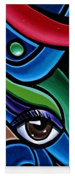 Colorful Abstract Art Painting, Modern Art Brown Eye Art Paintings Yoga Mat