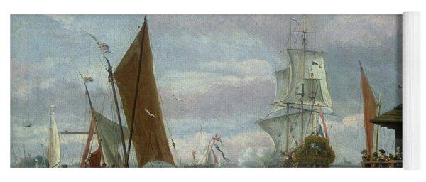 Estuary Scene With Boats And Fisherman Yoga Mat