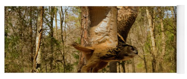 Eurasian Eagle Owl In Flight Yoga Mat