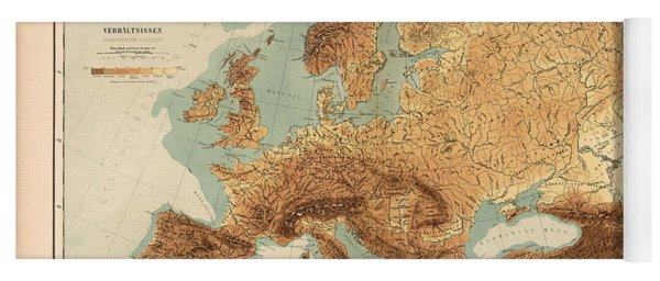 Europe - Geological Map Showing Land And Water Resources - Historical Map - Antique Relief Map Yoga Mat