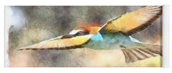 European Bee Eater In Flight Watercolor Yoga Mat