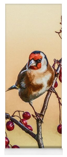 European Goldfinch With Berries Yoga Mat