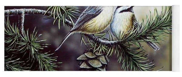 Evergreen Chickadees Yoga Mat