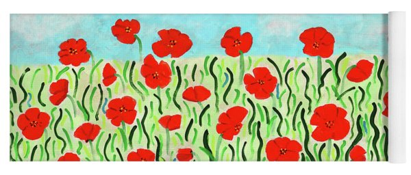 Yoga Mat featuring the painting Everythings Popping Up Poppies by Deborah Boyd