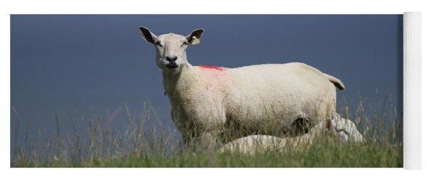 Ewe Guarding Lamb Yoga Mat