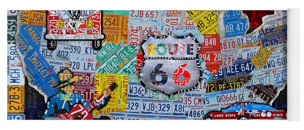Explore The Usa License Plate Art And Map Travel Collage Yoga Mat