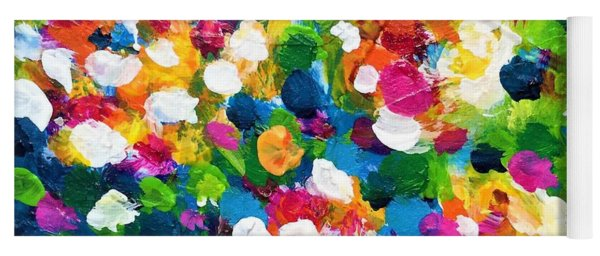 Yoga Mat featuring the painting Explosion Of Colors by Cristina Stefan
