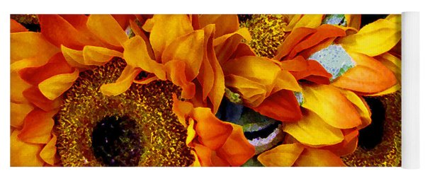 Expressive Digital Sunflowers Photo Yoga Mat