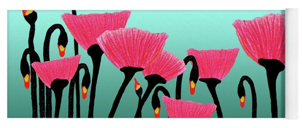 Expressive Red Pink Green Poppy Painting Y1a Yoga Mat