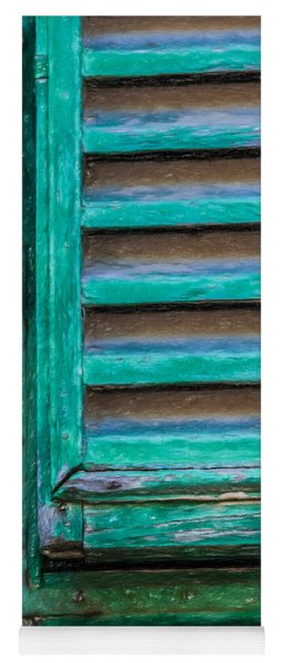 Faded Green Window Shutter Yoga Mat