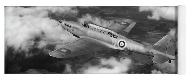 Yoga Mat featuring the photograph Fairey Battle In Flight Bw Version by Gary Eason