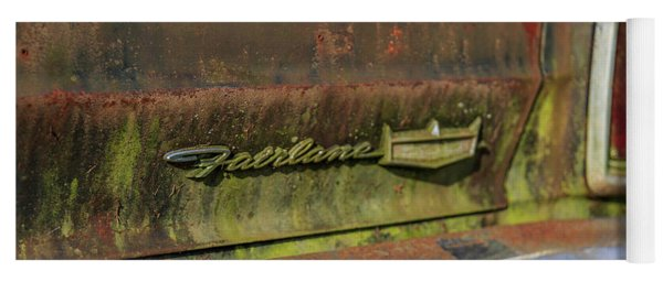 Yoga Mat featuring the photograph Fairlane Emblem by Doug Camara