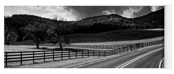 Fall Along Joe Brown Highway In Black And White Yoga Mat