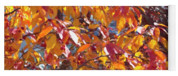 Fall Branches Paint Yoga Mat