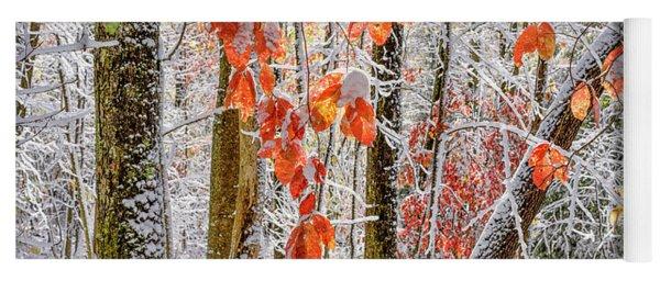 Fall Color Autumn Snow Yoga Mat