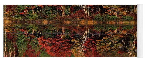 Fall Color Reflected In Thornton Lake Michigan Yoga Mat