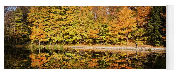 Fall Ontario Forest Reflecting In Pond  Yoga Mat