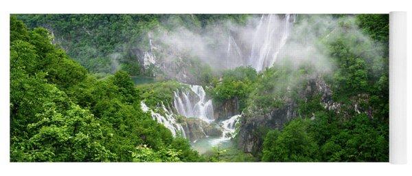 Falls Through The Fog - Plitvice Lakes National Park Croatia Yoga Mat