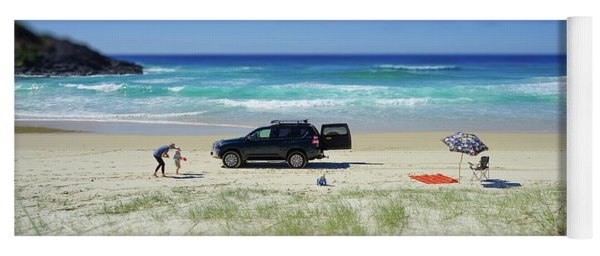 Family Day On Beach With 4wd Car  Yoga Mat