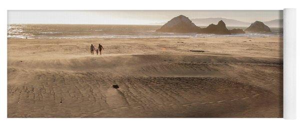 Family Walking On Sand Towards Ocean Yoga Mat