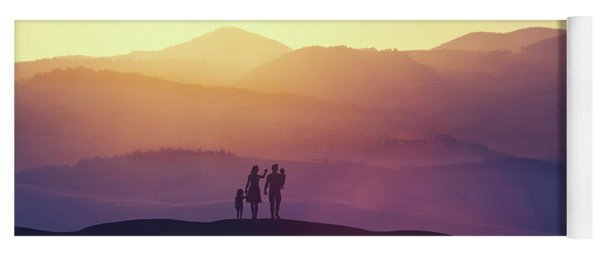 Family With Two Children Standing On A Hill Yoga Mat