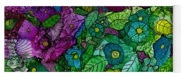 Fantasy Zen Flowers In Alcohol Ink Yoga Mat
