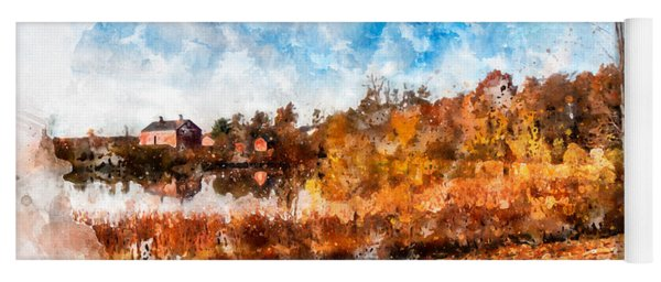 Farm Fall Colors Watercolor Yoga Mat