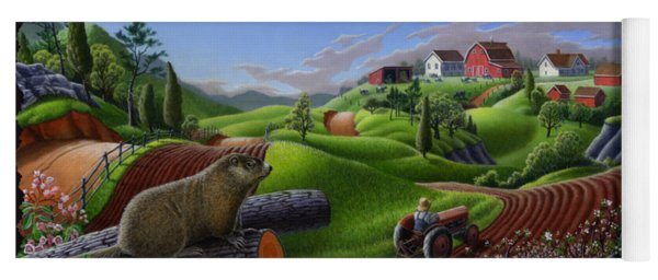 Farm Folk Art - Groundhog Spring Appalachia Landscape - Rural Country Americana - Woodchuck Yoga Mat