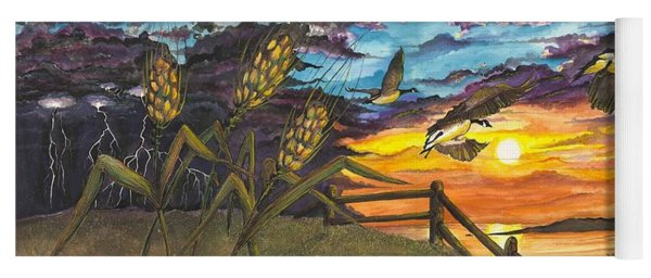 Yoga Mat featuring the painting Farm Sunset by Darren Cannell