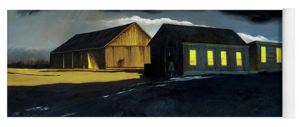 Farm Yard With Moonlight And Rain Yoga Mat