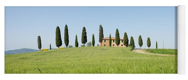 Farmhouse With Cypress Trees And Crops In Tuscany Yoga Mat