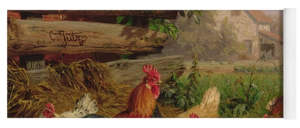 Farmyard Chickens Yoga Mat
