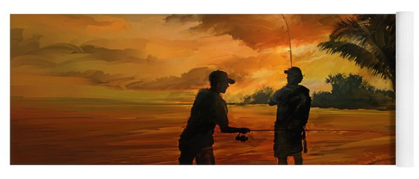 Father And Son Fishing Yoga Mat