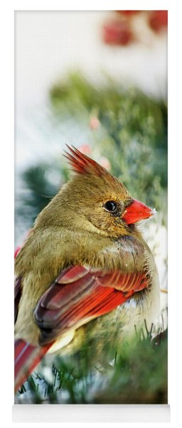 Female Northern Cardinal Yoga Mat