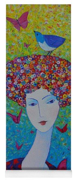 Femininity Spring Portrait Contemporary Abstract Impressionism Knife Oil Painting Ana Maria Edulescu Yoga Mat