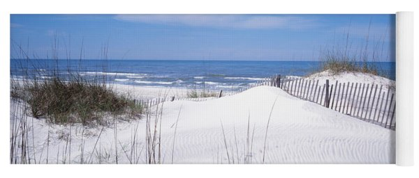 Fence On The Beach, Gulf Of Mexico, St Yoga Mat