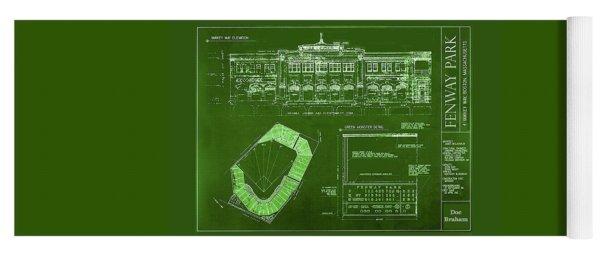 Fenway Park Blueprints Home Of Baseball Team Boston Red Sox Yoga Mat