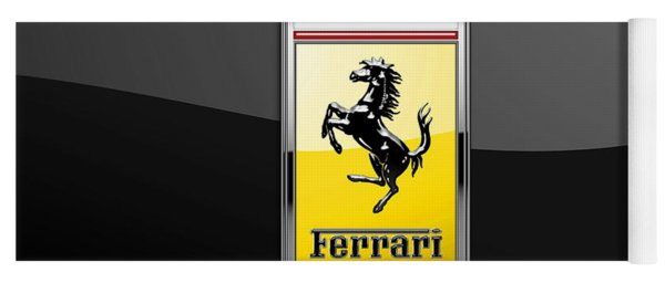 Ferrari 3d Badge- Hood Ornament On Black Yoga Mat