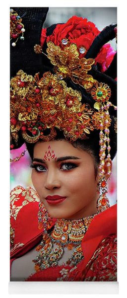 Festive Chinese Fashion Girl Yoga Mat