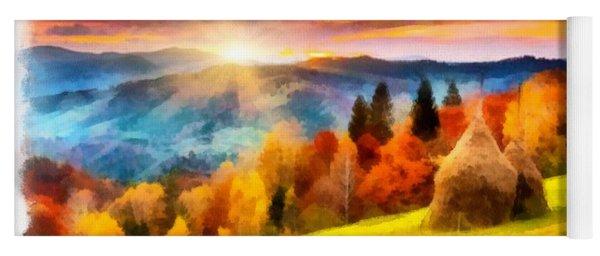 Field Of Autumn Haze Painting Yoga Mat