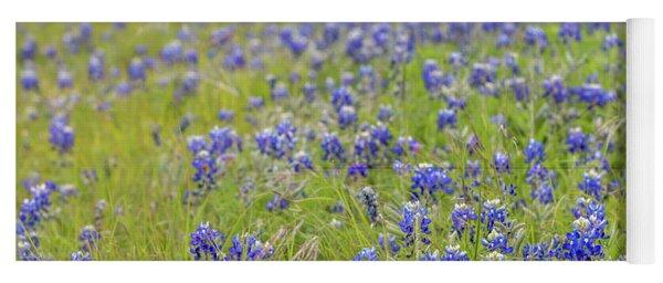 Field Of Blue Bonnet Flowers Yoga Mat