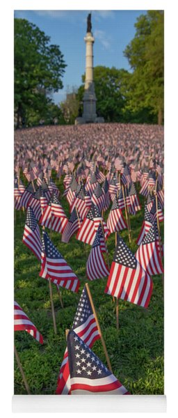 Field Of Flags At Boston's Soldiers And Sailors Monument Yoga Mat