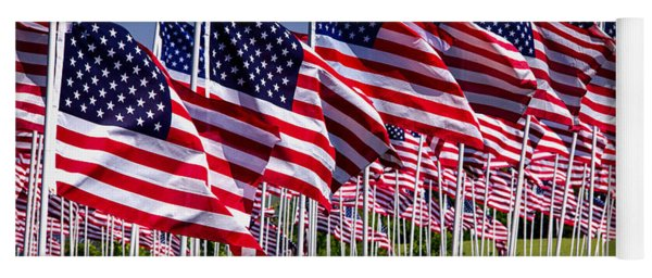 Field Of Flags For Heroes Yoga Mat