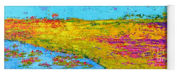 Field Of Flowers, Waterlily Pads Pond Modern Abstract Landscape Painting - Palette Knife Work Yoga Mat