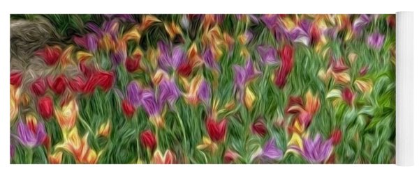 Field Of Tulips Yoga Mat