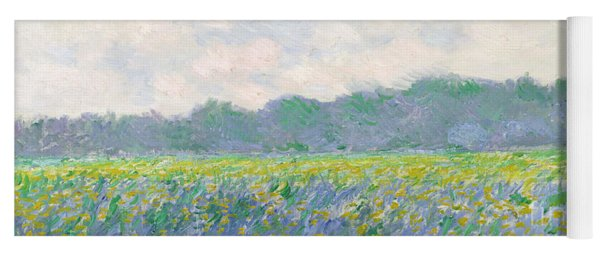 Field Of Yellow Irises At Giverny Yoga Mat