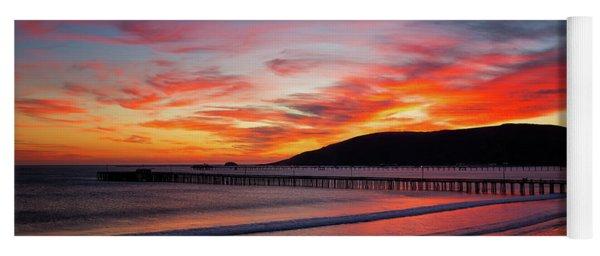 Fiery Avila Beach Sunset Yoga Mat