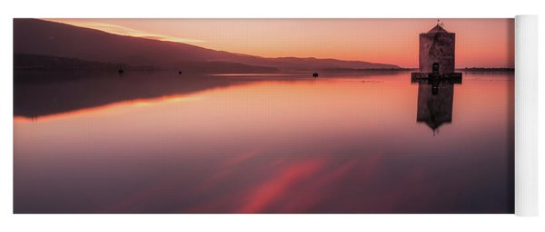 Fiery Mirror - The Windmill In Orbetello Reflecting Itself In The Mirror Like Water Yoga Mat